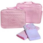 Kit 4 Bolsa Maternidade Cueiro Enxoval de Bebê 100% Algodão Antialérgico Menina Rosa