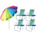 Kit 4 Cadeira com Mesa e Guarda-sol Mor Rainbow 220cm
