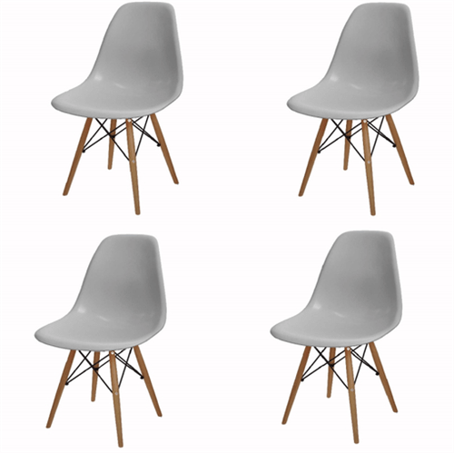 Kit 4 Cadeira Eames Wood Cinza PP OR Design 1102B