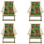 Kit 4 Cadeira Preguiçosa Espreguiçadeira Dobrável Natural - Estampa Flores Arara