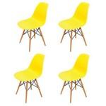 Kit 4 Cadeiras Colorida Cozinha Jantar Eames Base Madeira Amarelo