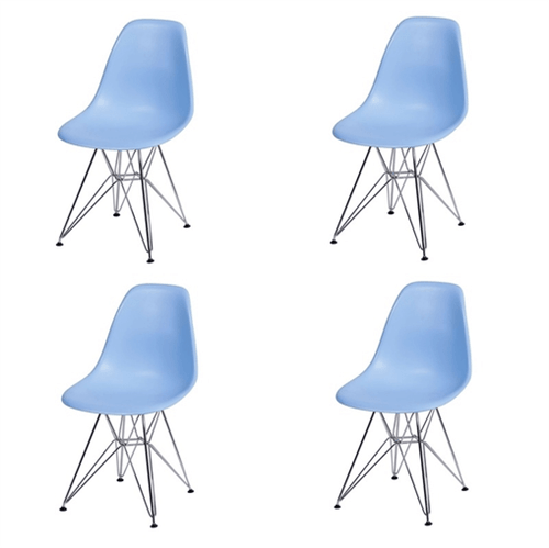 Kit 4 Cadeiras Eames Eiffel Azul PP OR Design 1102
