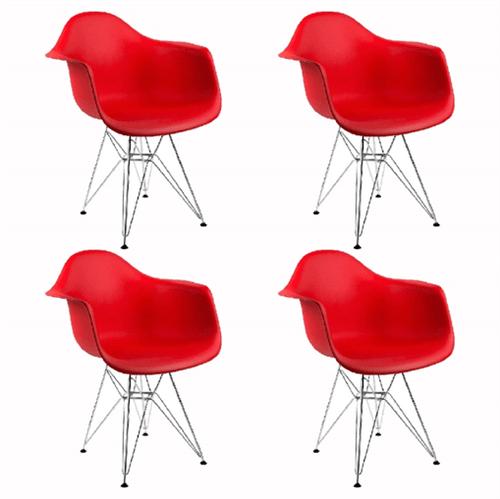 Kit 4 Cadeiras Eames Eiffel Vermelha com Braços OR Design 1121