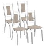 Kit 4 Cadeiras Florença Cromado Kappesberg 4C005 Linho Marrom