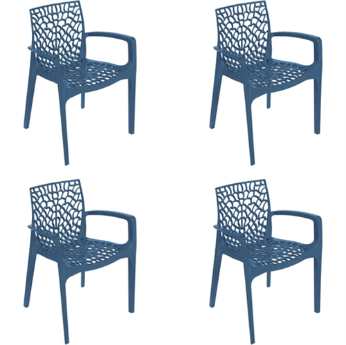 Kit 4 Cadeiras Gruvyer com Braços Azul OR Design