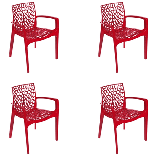 Kit 4 Cadeiras Gruvyer com Braços Vermelha OR Design