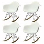 Kit 4 Cadeiras Or Design Eames Wood 1122 Balanço - Branca