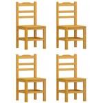 Kit 4 Cadeiras Pérola Madeira Maciça Pinus - Cor Cerejeira