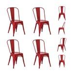 Kit 4 Cadeiras Tolix Iron Aço Várias Cores - (vermelha)