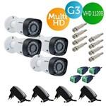 Kit 4 Câmeras Bullet Intelbras Multi HD Vhd 1120b Lente 2.6mm G4 + Fontes + Conectores