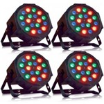 Kit 4 Canhão LED PAR Refletor Slim RGB 18 LEDS 1W COM VENTILADOR Display Digital DMX