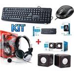 Kit 4 em 1 Teclado + Mouse Óptico + Caixa de Som + Fone Ouvido Headset com Microfone Pc Desktop