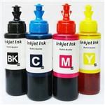 Kit 4 Refil de Tintas Corante Anti UV 100ml Compatível Epson Econtank L110 L200 L210 L220 L355 L365 L375 L455