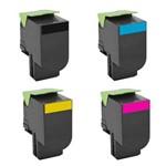 Kit 4 Toners para Lexmark C540 | C543 | C544 | X543 | X544 Cmyk Compatível