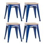 KIT - 4 X Banquetas Baixas Iron Tolix - Assento de Madeira - Industrial - Aço - Vintage - Azul Escuro
