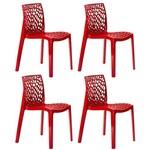 KIT - 4 X Cadeiras Gruvyer - Polipropileno - Vermelho