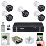 Kit Intelbras 5 Câmeras 720p 1mp G4 Dvr Mhdx 1008 8 Ch 1tb