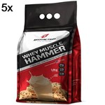 Kit 5X Whey Muscle Hammer - 1800g Cookies e Cream - BodyAction