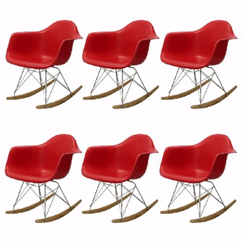 Kit 6 Cadeira Eames Wood Balanço Vermelha com Braços OR Design 1122