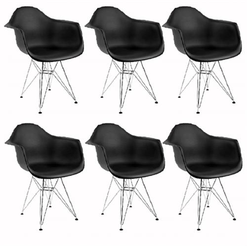 Kit 6 Cadeiras Eames Eiffel Preta com Braços OR Design 1121