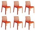 Kit 6 Cadeiras Gruvyer Laranja OR Design