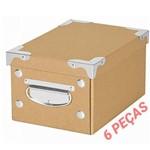 Kit 6 Caixa Organizadora Ordene OR52500 Monta Fácil Kraft Porta Objetos Acessórios Escritório
