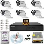 Kit 6 Câmeras Hikvision Hd 720p 1mp 2ce16c0t 8 Ch Purple 10a
