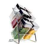 Kit 6 Porta-Condimentos em Vidro + Suporte Square Euro