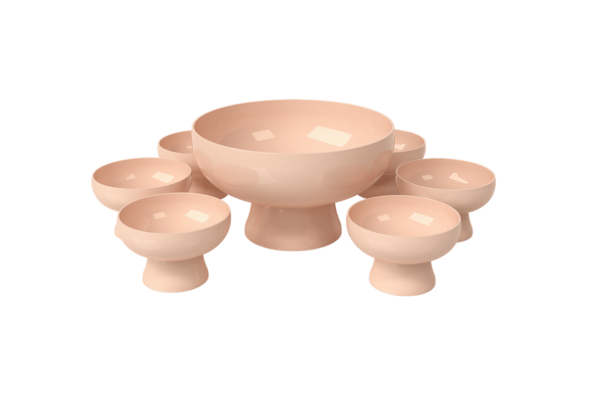Kit 6 Taças e 1 Saladeira Cake Taça Cake Ø11,6x7,2cm Saladeira Cake Ø23,6x13,2cm Rosa Blush Coza