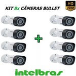 Kit 8 Cameras Intelbras Bullet Vhd 1120 B 720p 20m 2,6mm G4