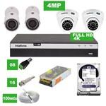 Kit 8 Câmeras Vhd 3420 D e Vhd 3430 B G4 Full HD 4k Intelbras com HD 2tb e Acessórios