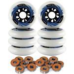 Kit 8 Rodas Creme Patins Roller Inline 80mm + 16 Rolamentos - Branca/Azul