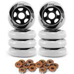 Kit 8 Rodas Patins Roller Inline Hondar 84mm + 16 Rolamentos