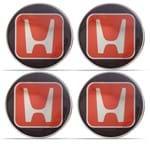 Kit Adesivo Emblema Resinado Honda da Calota 51mm Vermelho e Preto com Símbolo Cromado 4 Unidades