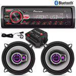 Kit Alto Falantes Pioneer 5 Triaxial + Radio Mp3 Pioneer Blu