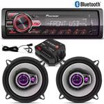 Kit Alto Falantes Pioneer 5 Triaxial + Radio Mp3 Pioneer Bluetooth + Módulo