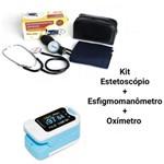 Kit Aparelho de Pressão + OXÍMETRO (esfigmomanômetro) + Esteto Preto