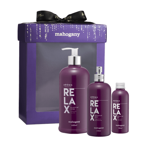 Kit Aroma Sensations Relax com Fragrância, Sabonete Líquido, Óleo para Massagem e Caixa Violeta