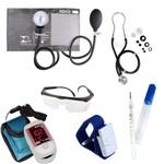 Kit Aula 4: Medidor de Pressão Esfigmo Velcro + Estetoscópio Rappaport + Oxímetro Pulso + Termômetro Clínico + Óculos de Proteção + Garrote