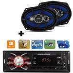 Kit Auto Falante 6x9 110w + Toca Radio Carro Mp3 Player Usb
