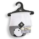 Kit Babador de Ombro Panda Cinza - Coração de Mãe