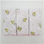 Kit Babete Feminino Rosa com 3 Unidades Estampada Anjinho da Guarda