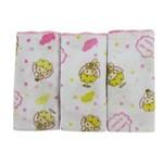 Kit Babete Feminino Rosa com 3 Unidades Estampada Anjinhos e Frase