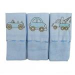 Kit Babete Masculino com 3 Unidades Bordado Carros Azul Claro