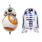Kit 2 Balões Metalizados Festa Star Wars Bb8 e R2d2