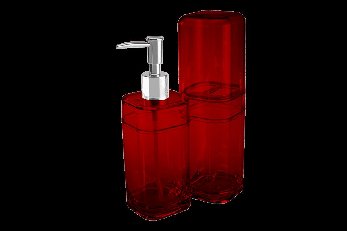 Kit Banho com Tampa - Splash 6,5 X 6,5 X 19,2 Cm / 6,5 X 6,5 X 22,5 Cm Vermelho Transparente Coza