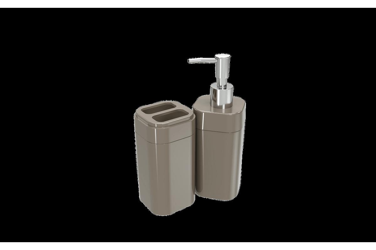 Kit Banho Splash - WGR 6,5 X 6,5 X 19,2 Cm / 6,5 X 6,5 X 12,7 Cm Warm Gray Coza