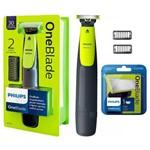 Kit Barbeador Aparador Elétrico Philips One Blade Qp2510 + Refil