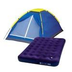 Kit Barraca Iglu Camping- 4 Pessoas- 9035 + Colchão Inflável Casal- 009072- Mor<BR><BR>