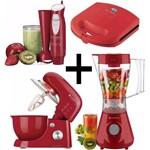 Kit Batedeira + Liquidificador + Sanduicheira + Mixer Vermelho 127V